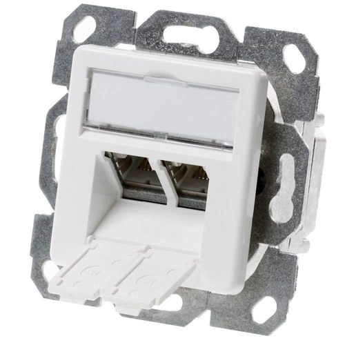 Telegärtner Datenanschlussdose Cat6A 2-Fach 2xRJ45 J00020A0500 AMJ45 8/8 UP/50 alpinweiß, Weiß …