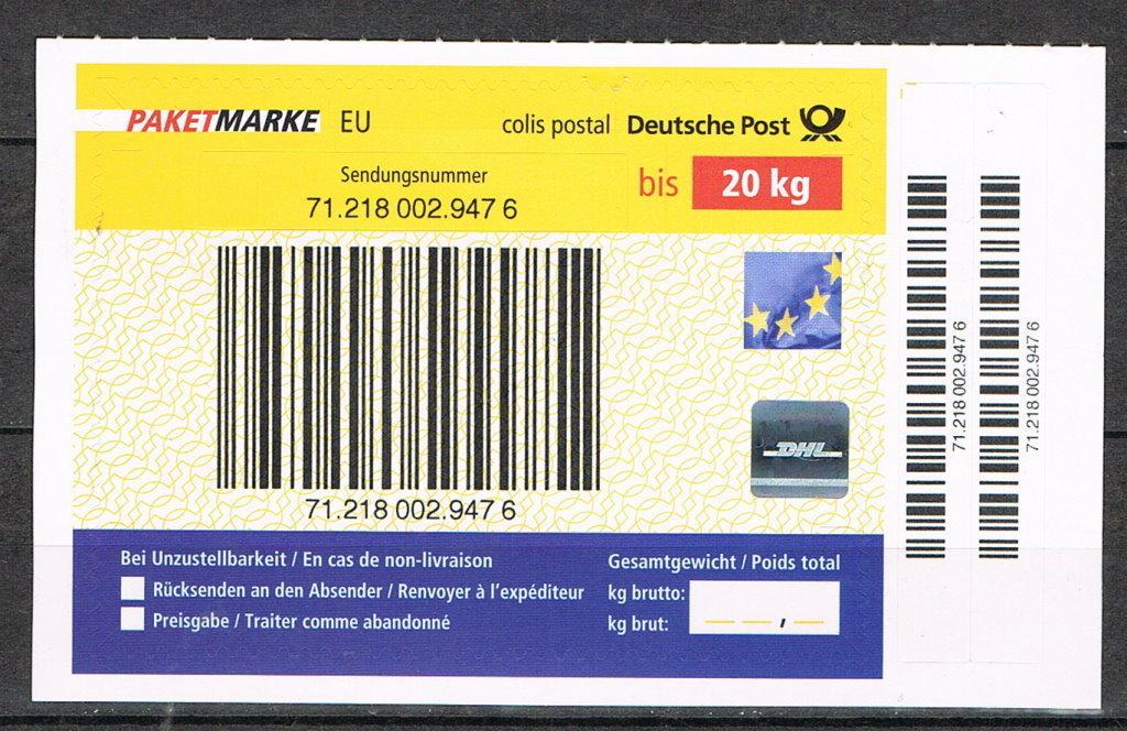 dhl paketmarke bis 20 kg eu europ ische union 3 st ck 4199 ebay. Black Bedroom Furniture Sets. Home Design Ideas