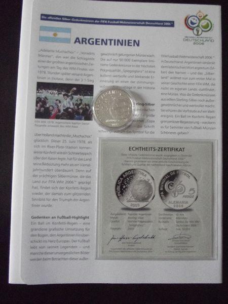 Argentinien: 5 Pesos, 2003 Fifa World Cup \'06 Fußball, Silber ...