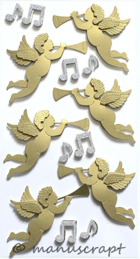 Engel mit Flöte Artoz Artwork 3D-Sticker Winter Weihnachten