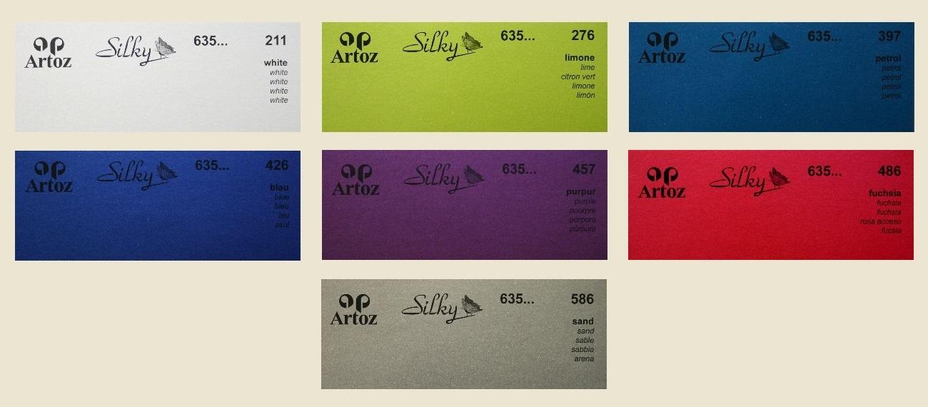 50 Artoz Papier Silky Bogen einfach DIN A4 130g Farben