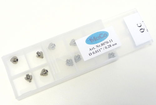 "Box of 10 Sapphire Orifices 0.011"" (0,28 mm) - displaced jewel"