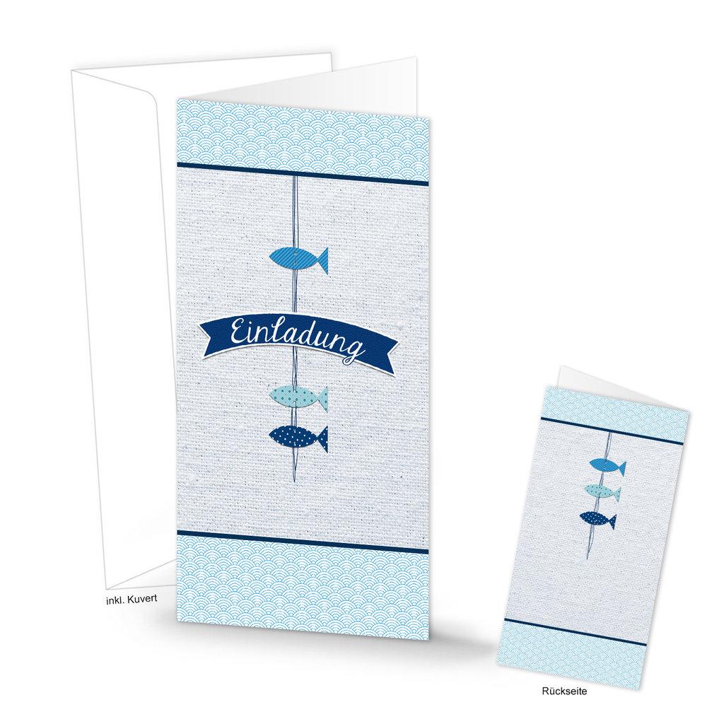 """einladungskarte """"3 blaue fische"""" din lang geklappt 105"""