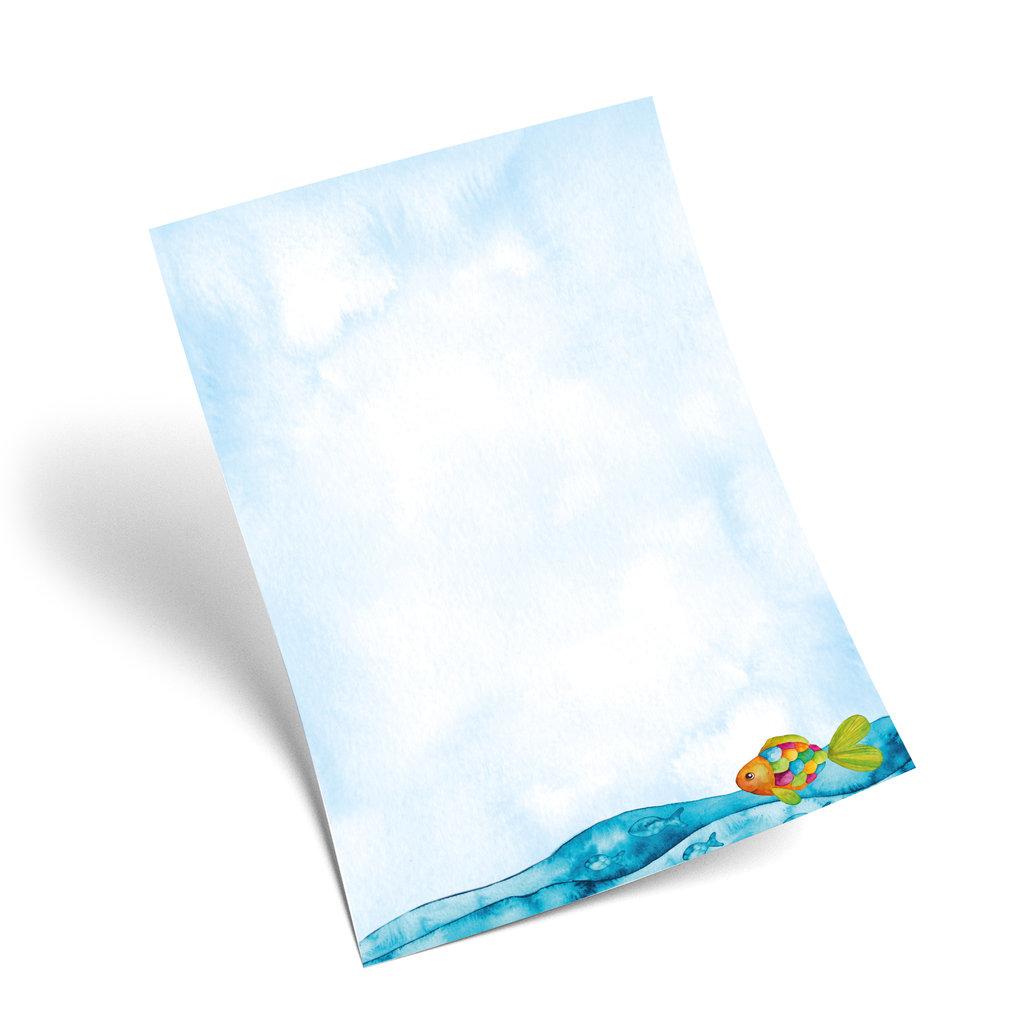 blau türkises briefpapier regenbogenfisch fische in ozean