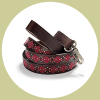 leather argyle leash red