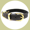 classic leather collar with soft suede back black