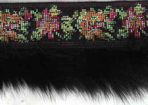"braid with roses and black rabbitfur 2"" total"