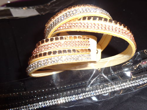 bracelet 2 col. with strass adjustable