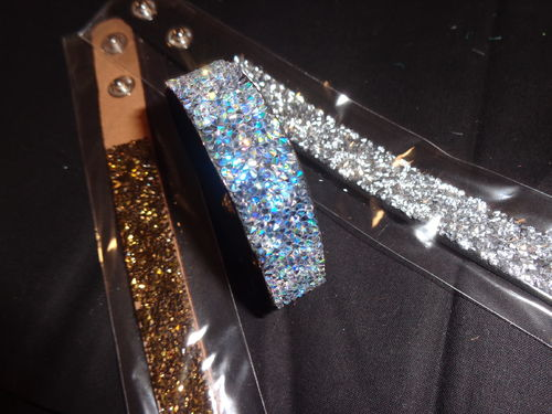 bracelet 3 col. adjustable with strass