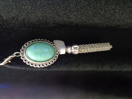 purse or key hanger silver with turquois