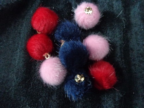 mini fake fur balls with golden eye diff. col.2pc./pack