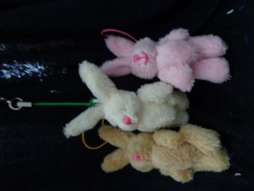 mini plush bunny with hook 3 col.