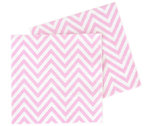 5 Party-Servietten mit Rosa Weißem Chevron-Muster