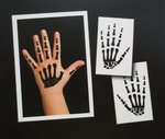 2 Temporäre Hand-Skelett Tattoos für Kinder in Schwarz