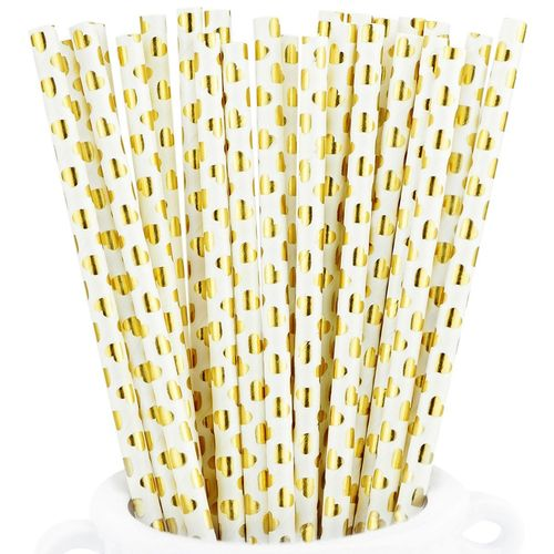 25 White paper straws with gold reflecting hearts