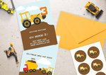 6 Excavator Benno invitation cards to fill out