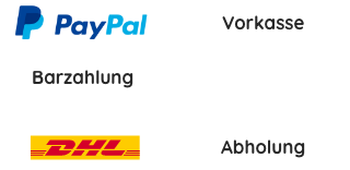 Paypal, Vorkasse, Barzahlung, DHL, Abholung
