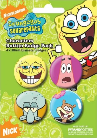 "Sponge Bob - Charakt""re 4 Badges / Buttons"