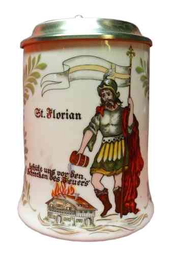 Tankard with pewter lid - fire departmend - St. Florian