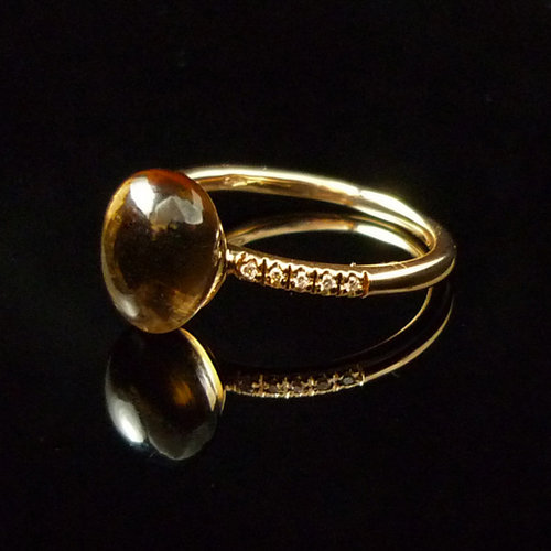 GILARDY GOCCIA ring 18Ct rosé gold with cairngorm and diamonds