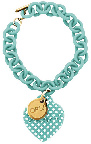 OPS!OBJECTS Bracelet turquoise with white OPSBR-39-1800points stainless steel yeloowgold plated