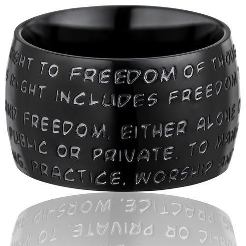 GILARDY HUMAN RIGHTS Ring R1 curved stainless steel black