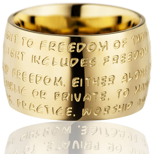 GILARDY HUMAN RIGHTS Ring R1 curved stainless steel gold