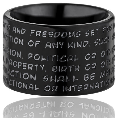 GILARDY HUMAN RIGHTS Ring R2 flat stainless steel black