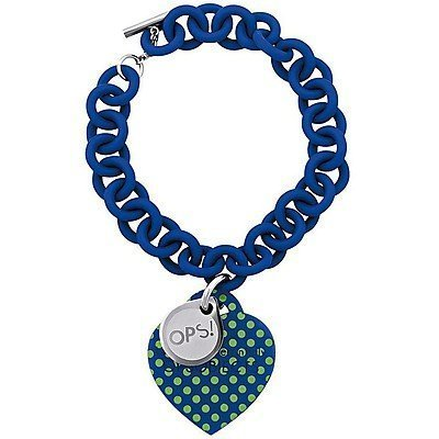 OPS!OBJECTS Bracelet dark blue with green points stainless steel OPSBR-34-1800