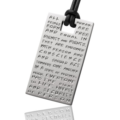 GILARDY HUMAN RIGHTS pendant P2 rectangular stainless steel silver