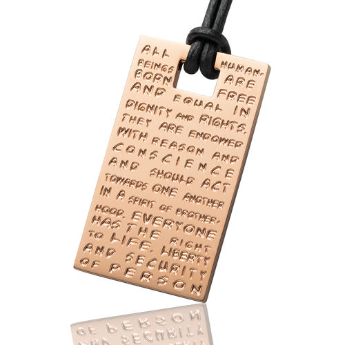 GILARDY HUMAN RIGHTS pendant P2 rectangular stainless steel rosé/champagne