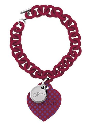 OPS!OBJECTS Bracelet red with purple points stainless steel OPSBR-35-1800