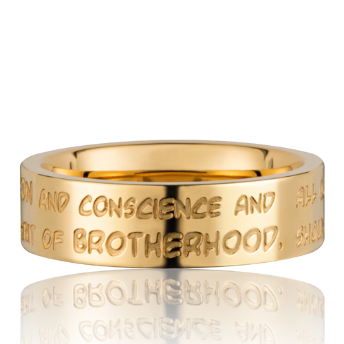 GILARDY HUMAN RIGHTS Ring R3 flach Edelstahl Gold