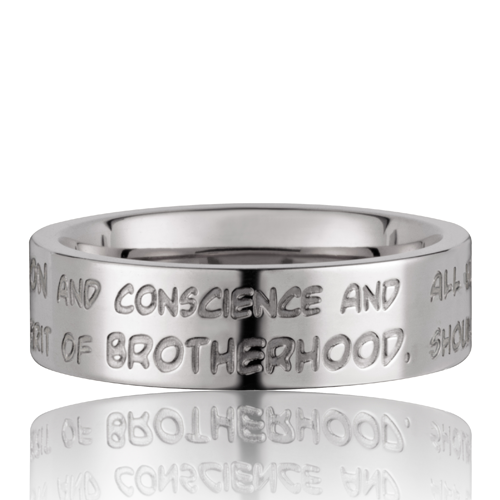GILARDY HUMAN RIGHTS Ring R3 flach Edelstahl Silber/White