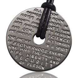 GILARDY HUMAN RIGHTS pendant P1 round stainless steel dark grey