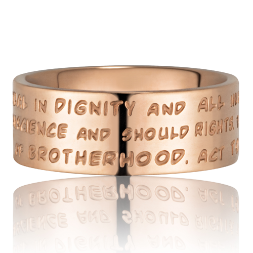 GILARDY HUMAN RIGHTS Ring R4 flach Edelstahl Roségold/Champagner