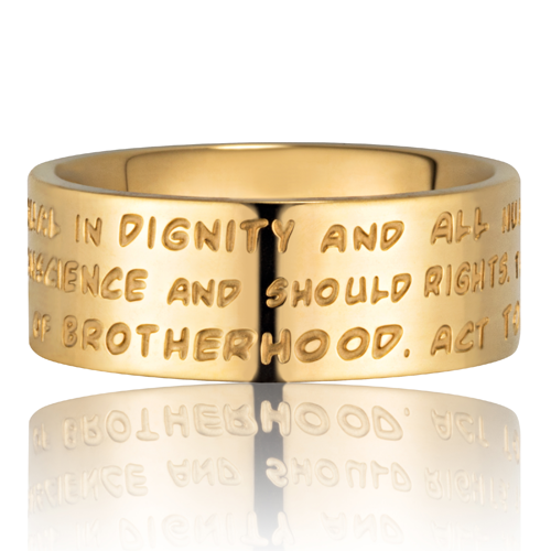 GILARDY HUMAN RIGHTS Ring R4 flach Edelstahl Gold