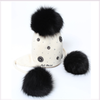 Joli Bebe Ivory Wool Knitted Hat with 3 Black Pom-Pom