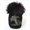 Joli Bebe Black Wool Knitted Hat with Purple Pom-Pom
