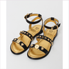 Young Versace Girls Black Leather Sandals