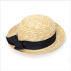 Catya Girls Straw Hat with Navy Blue Trim