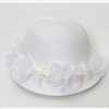 Catya Baby White Straw Hat with Organza Bow & Flowers