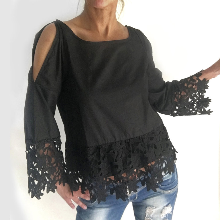 extravagante tunika bluse cut outs sch ne spitze 38 40. Black Bedroom Furniture Sets. Home Design Ideas