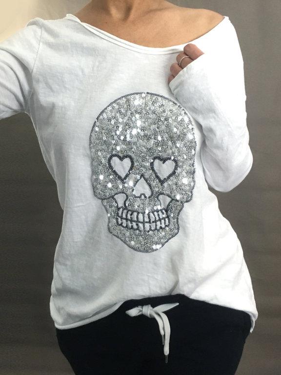 damen longshirt pailletten totenkopf skull 36 38 wei silber musthave shirt neu ebay. Black Bedroom Furniture Sets. Home Design Ideas