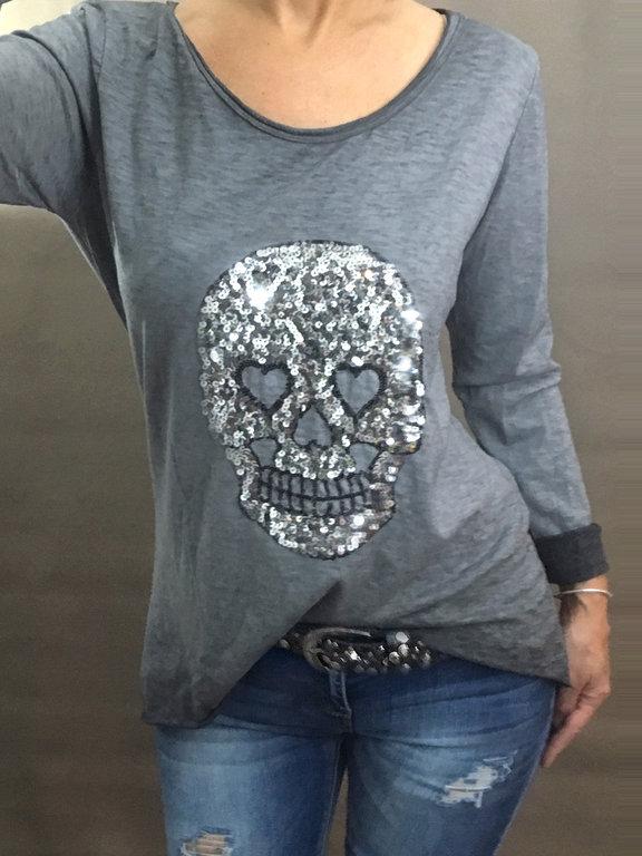 damen longshirt pailletten totenkopf skull 36 38 anthrazit grau silber blogger ebay. Black Bedroom Furniture Sets. Home Design Ideas