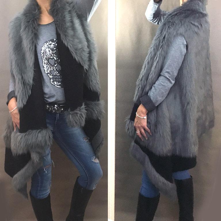 kunstfell weste berwurf fake fur 36 38 40 42 44 grau schwarz musthave poncho ne ebay. Black Bedroom Furniture Sets. Home Design Ideas