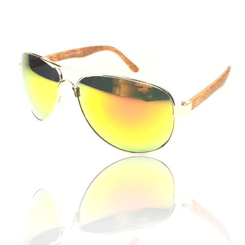 Piloten Sonnenbrille Holzoptik brown-Yellow