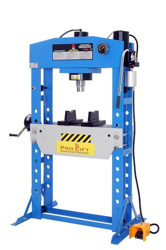 75t shop press, manually and pneumatic, blue, welded frame, 00007
