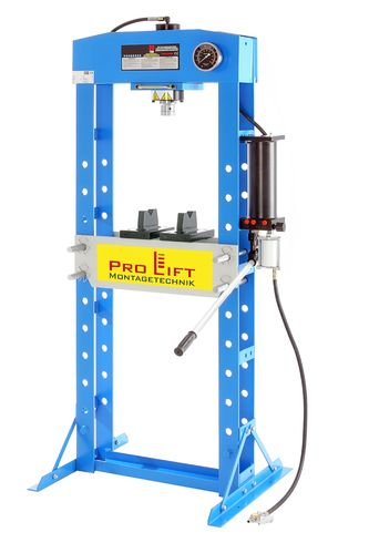 30t shop press, manual and pneumatic, blue, welded frame, 00008