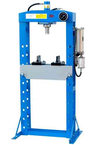 20t shop press, manually and pneumatic, welded frame, blue, 00011